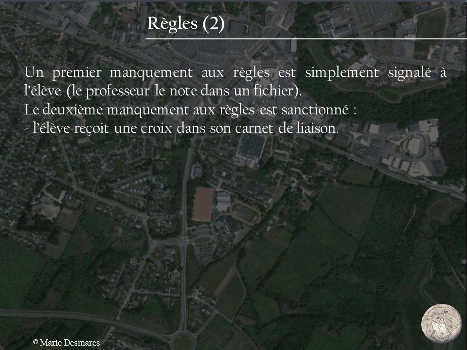 Règles (2) Un premier manquement aux règles est simplement signalé à l'élève (le professeur le note dans un fichier).