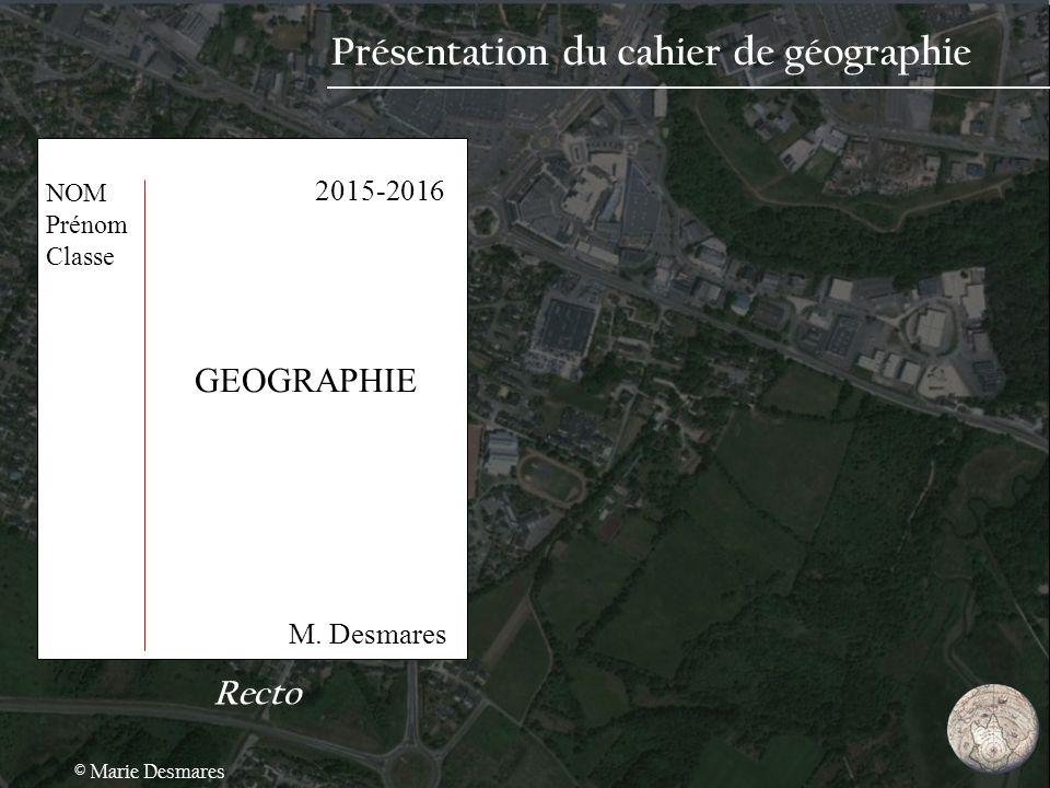 Présentation du cahier de géographie