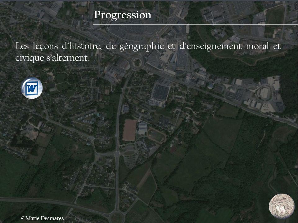 Progression Les leçons d'histoire, de géographie et d'enseignement moral et civique s'alternent.
