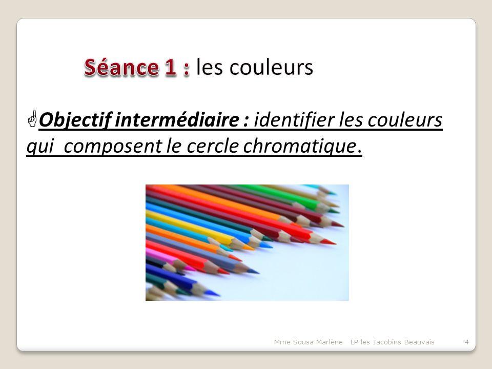 Séance 1 : les couleurs Objectif intermédiaire : identifier les couleurs qui composent le cercle chromatique.