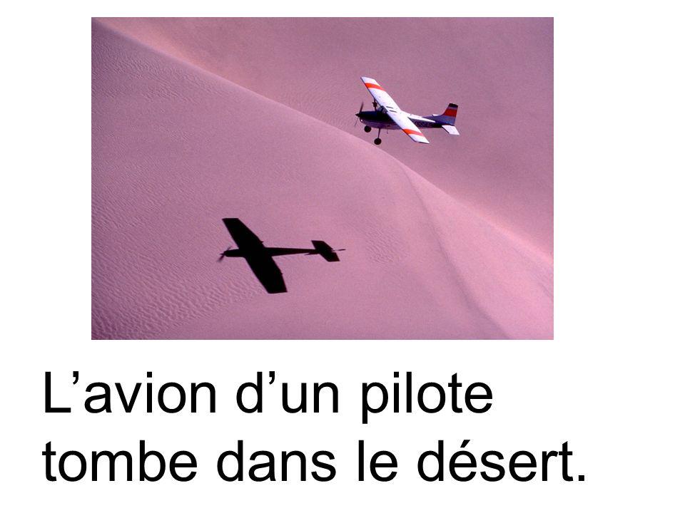L'avion d'un pilote tombe dans le désert.