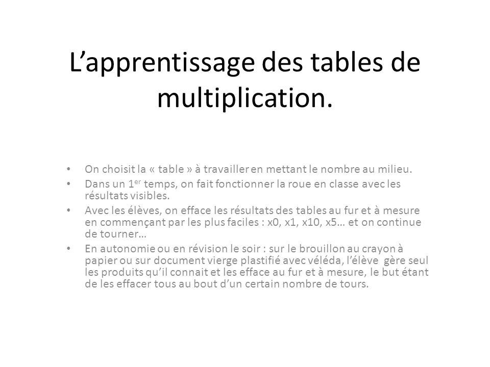 Enseigner le calcul mental ppt t l charger for Revision table de multiplication