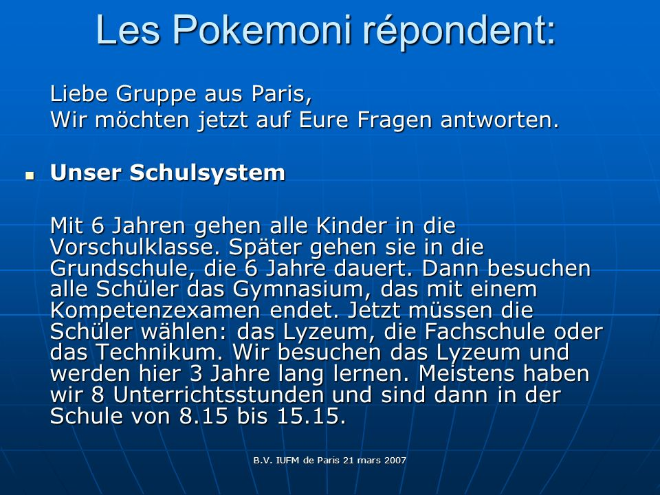 Les Pokemoni répondent: