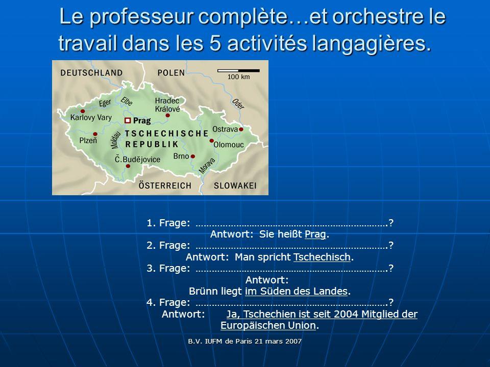 Le professeur complète…et orchestre le travail dans les 5 activités langagières.