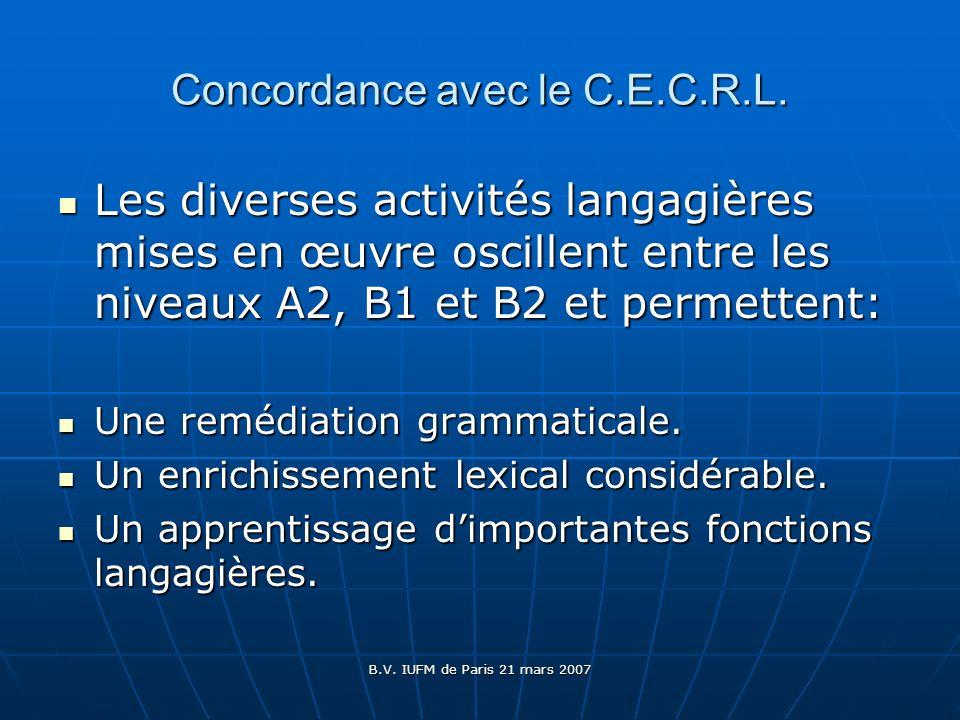 Concordance avec le C.E.C.R.L.