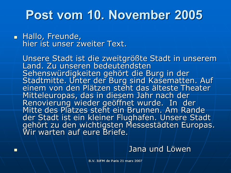 Post vom 10. November 2005