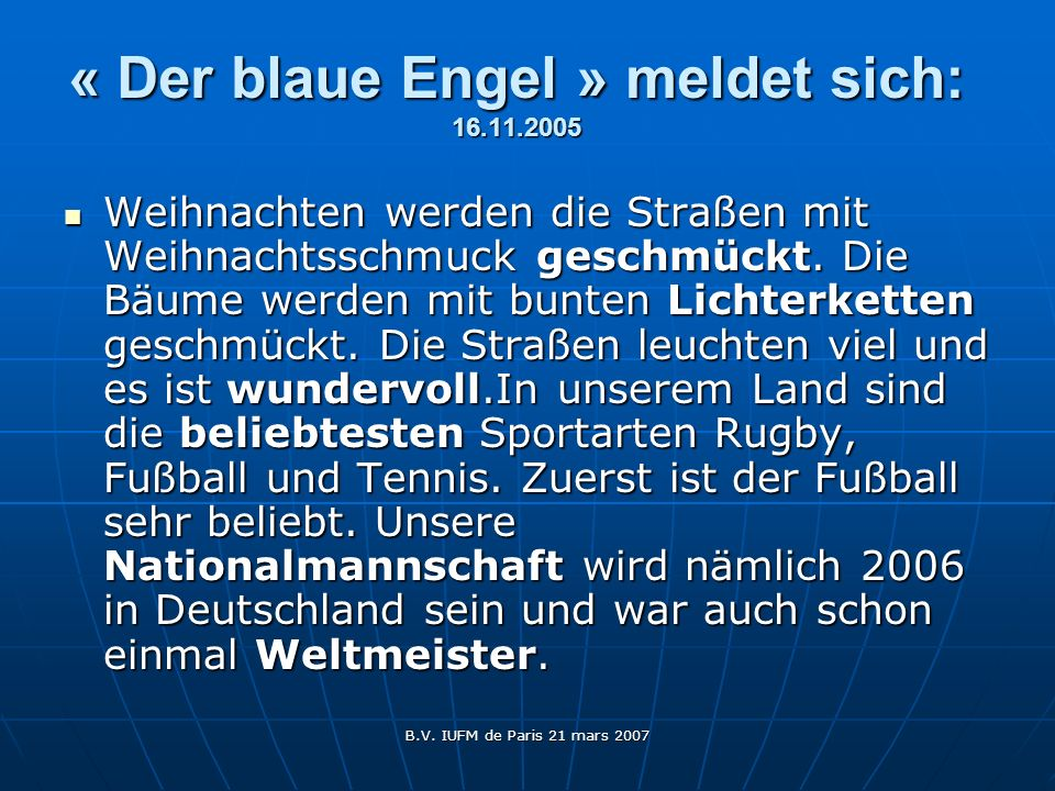 « Der blaue Engel » meldet sich: 16.11.2005
