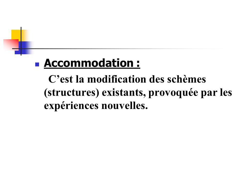Accommodation : C'est la modification des schèmes (structures) existants, provoquée par les expériences nouvelles.