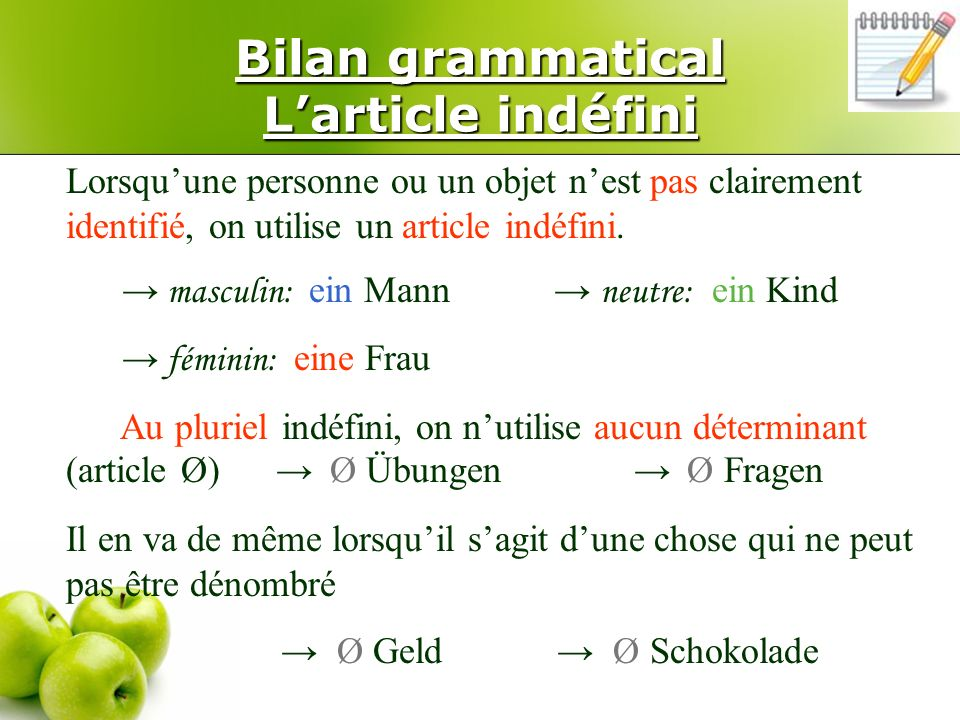 Bilan grammatical L'article indéfini