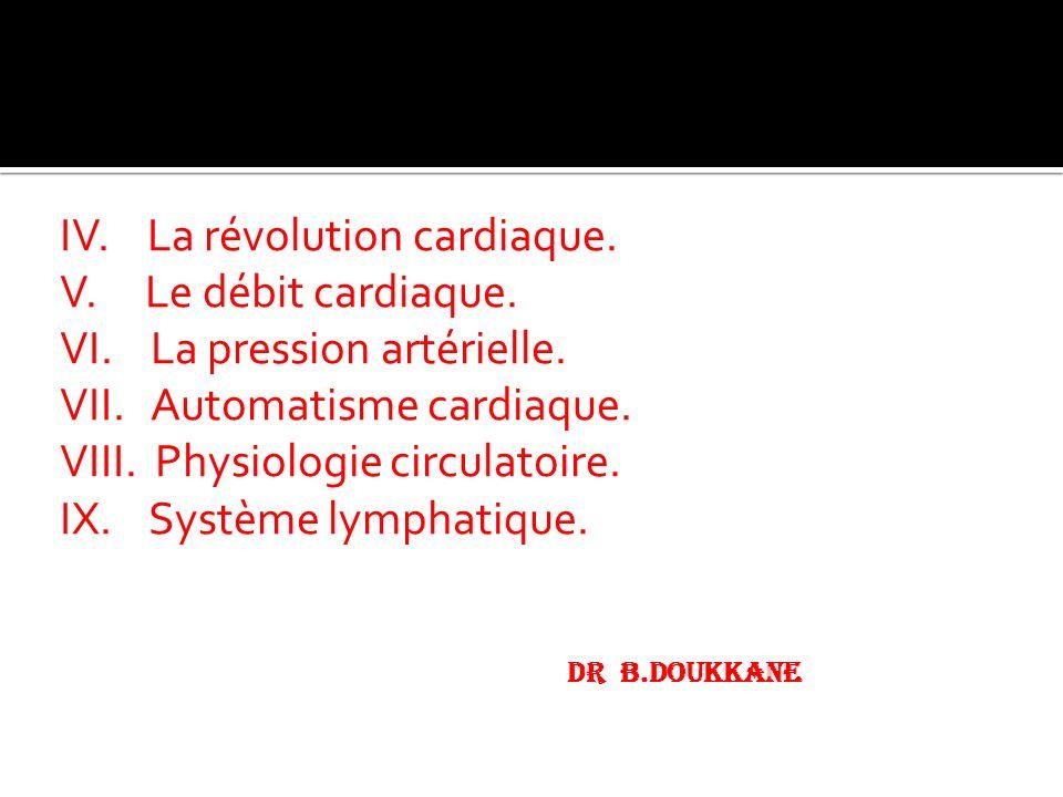 IV. La révolution cardiaque. V. Le débit cardiaque. VI