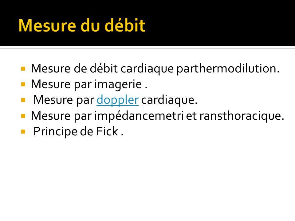 Mesure du débit Mesure de débit cardiaque parthermodilution.