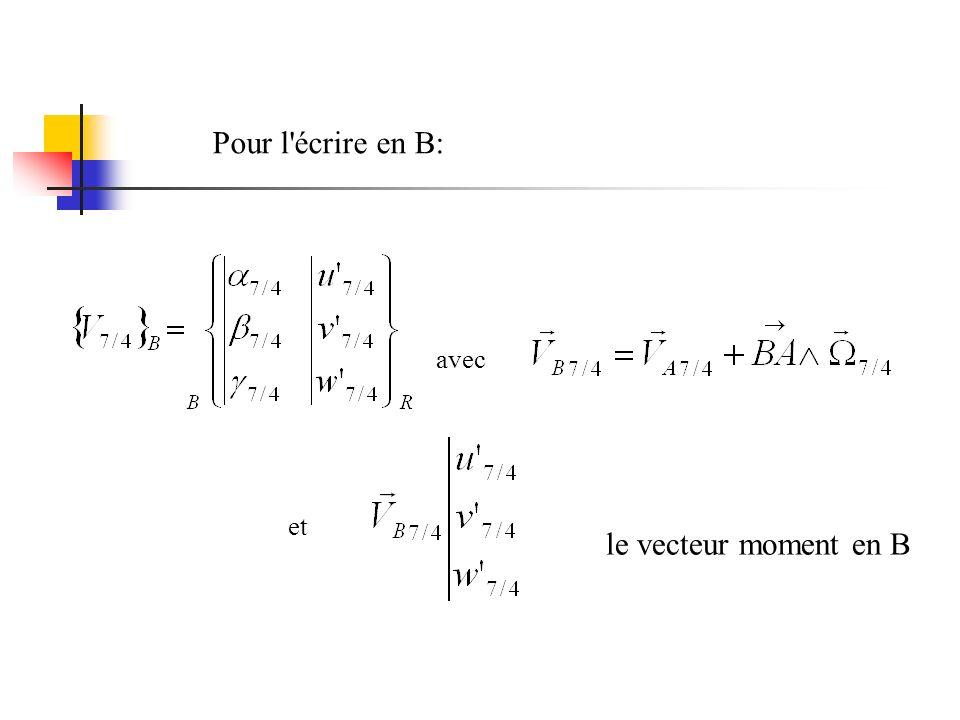 Pour l écrire en B: avec et le vecteur moment en B