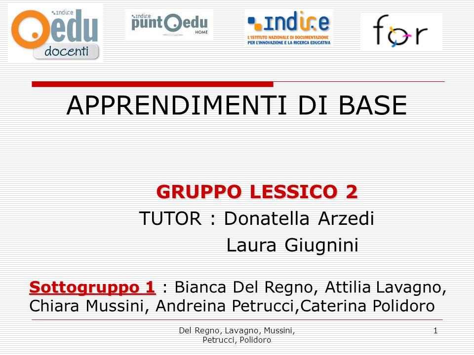APPRENDIMENTI DI BASE GRUPPO LESSICO 2 TUTOR : Donatella Arzedi