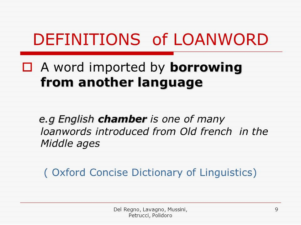 DEFINITIONS of LOANWORD