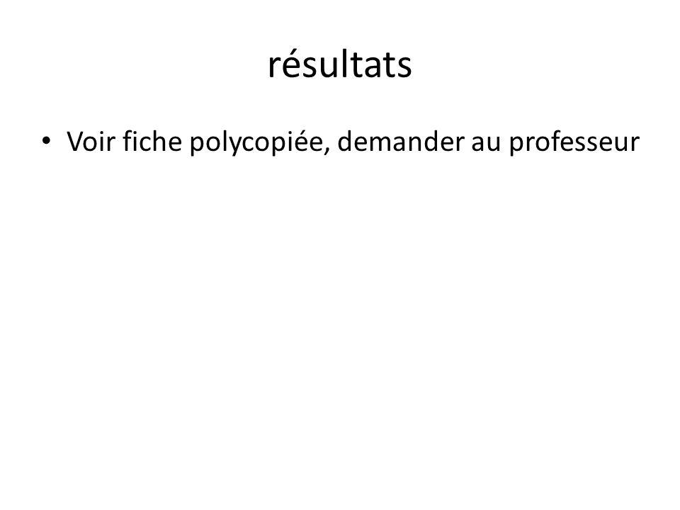 résultats Voir fiche polycopiée, demander au professeur