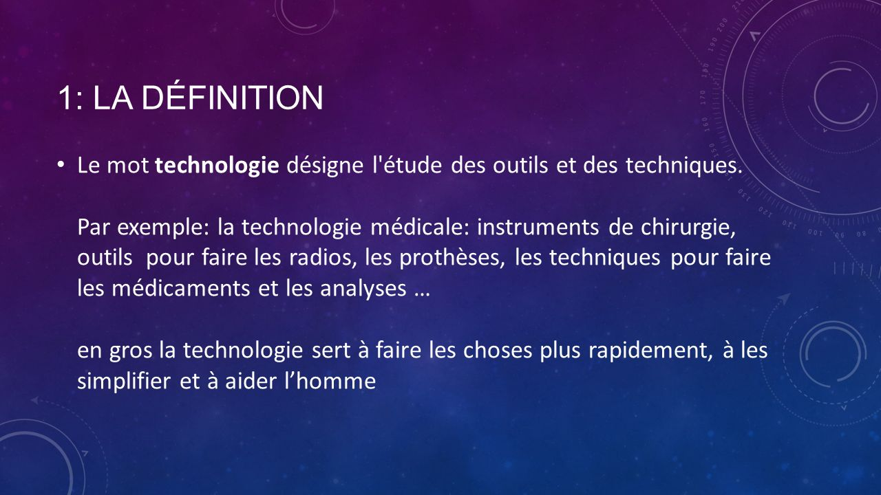 La technologie fait par elijah ppt video online t l charger for Definition de l