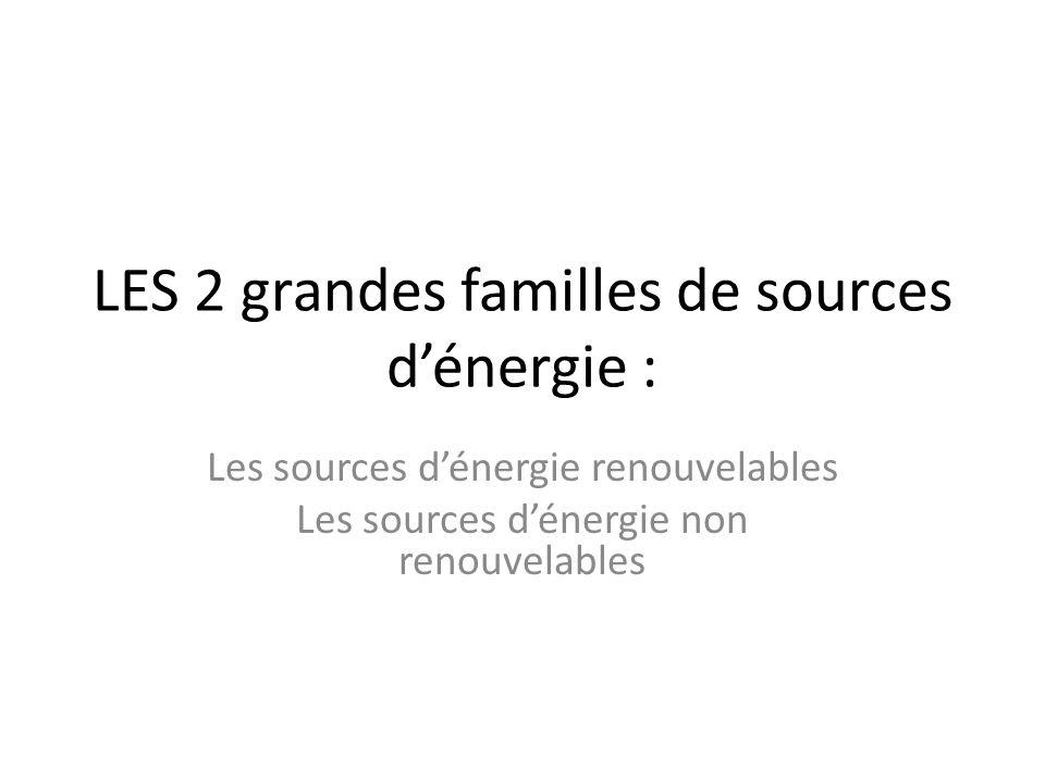 LES 2 grandes familles de sources d'énergie :