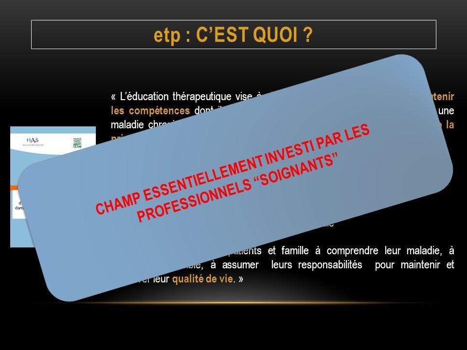 CHAMP ESSENTIELLEMENT INVESTI PAR LES PROFESSIONNELS SOIGNANTS