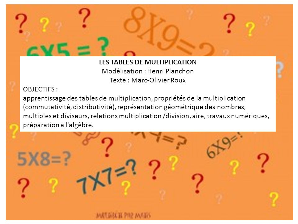 Apprendre les tables de multiplication ppt video online - Apprentissage des tables de multiplication ...