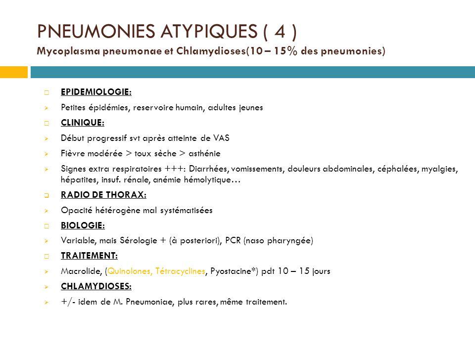 PNEUMONIES ATYPIQUES ( 4 ) Mycoplasma pneumonae et Chlamydioses(10 – 15% des pneumonies)