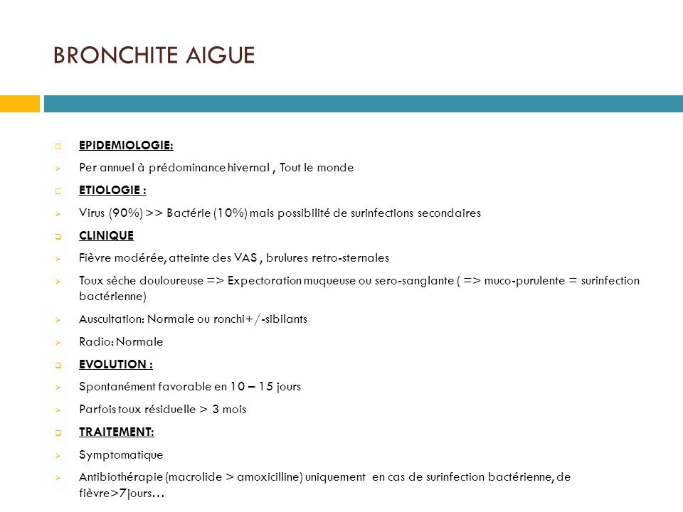 BRONCHITE AIGUE EPIDEMIOLOGIE: