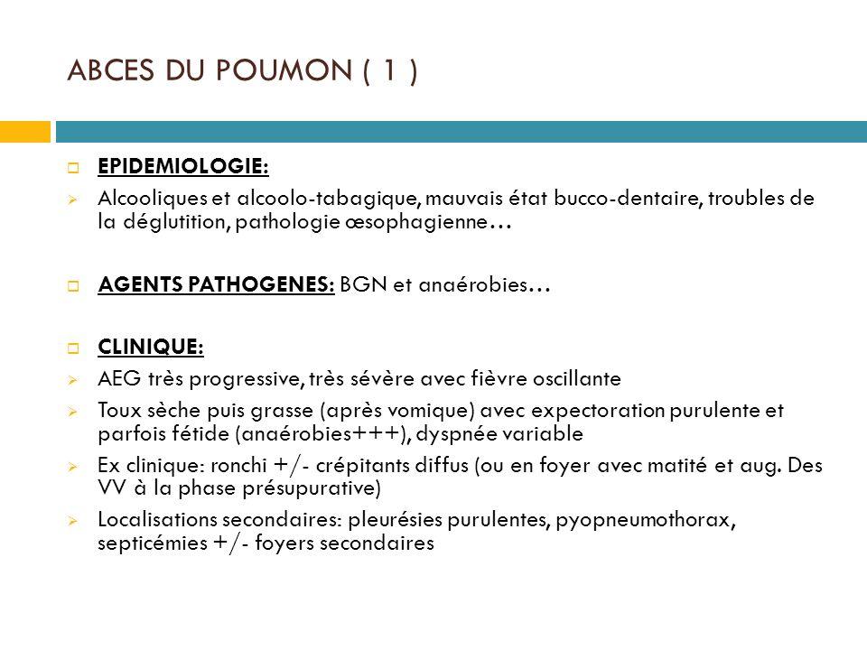 ABCES DU POUMON ( 1 ) EPIDEMIOLOGIE: