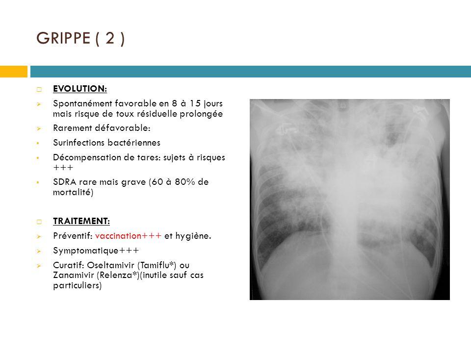 GRIPPE ( 2 ) EVOLUTION: Spontanément favorable en 8 à 15 jours mais risque de toux résiduelle prolongée.