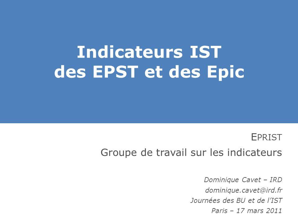 Indicateurs IST des EPST et des Epic