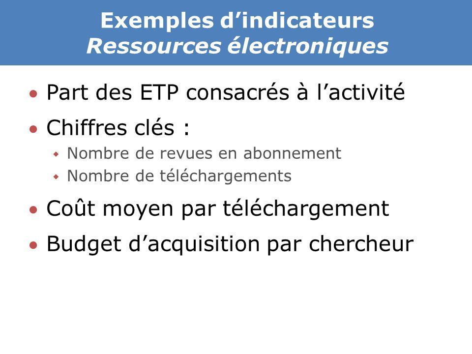 Exemples d'indicateurs Ressources électroniques