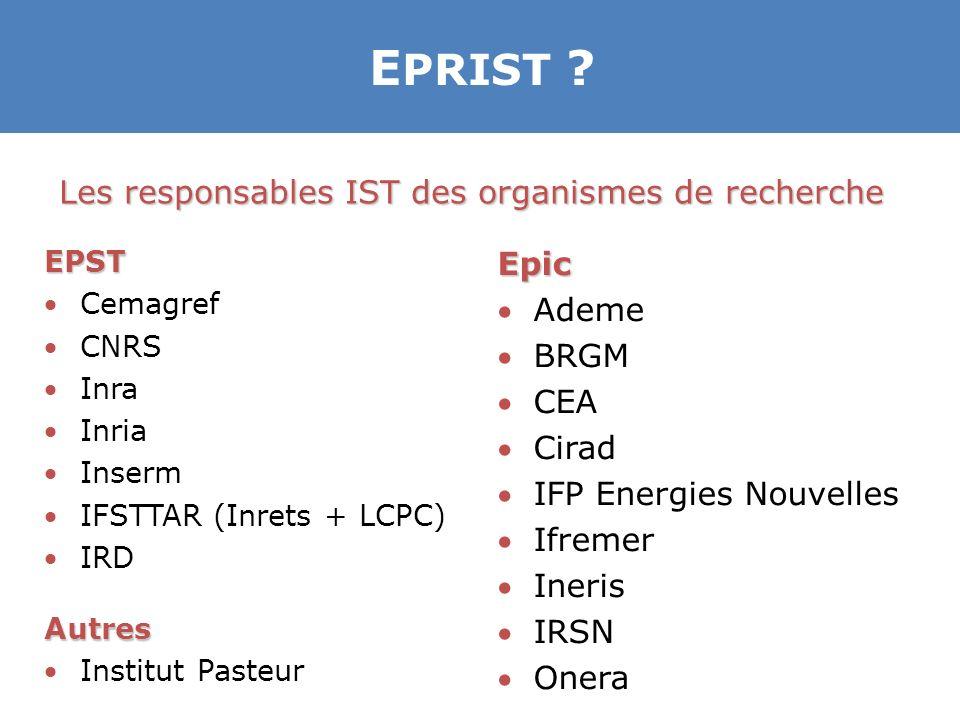 EPRIST Les responsables IST des organismes de recherche Epic Ademe
