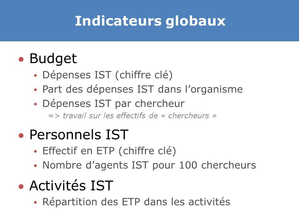 Indicateurs globaux Budget Personnels IST Activités IST