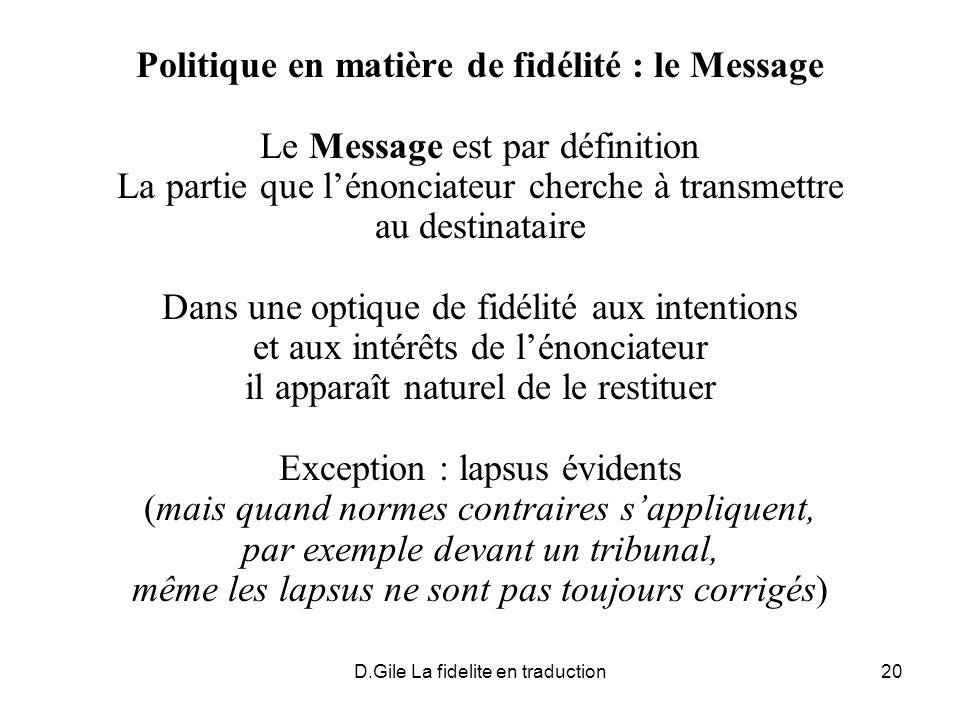 Politique en matière de fidélité : le Message