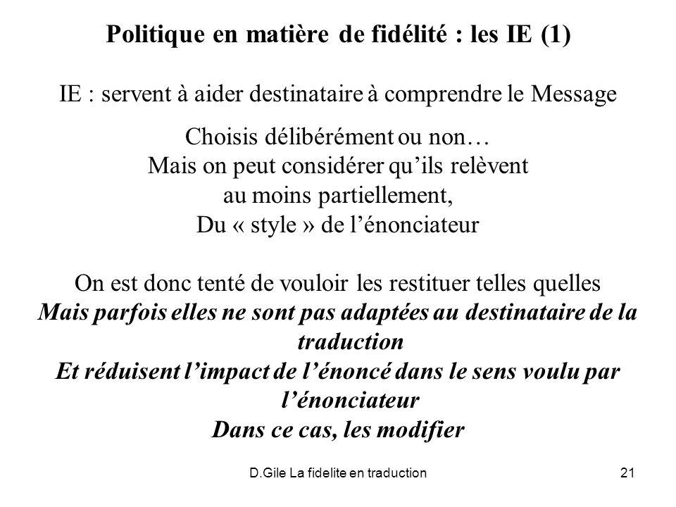 Politique en matière de fidélité : les IE (1)