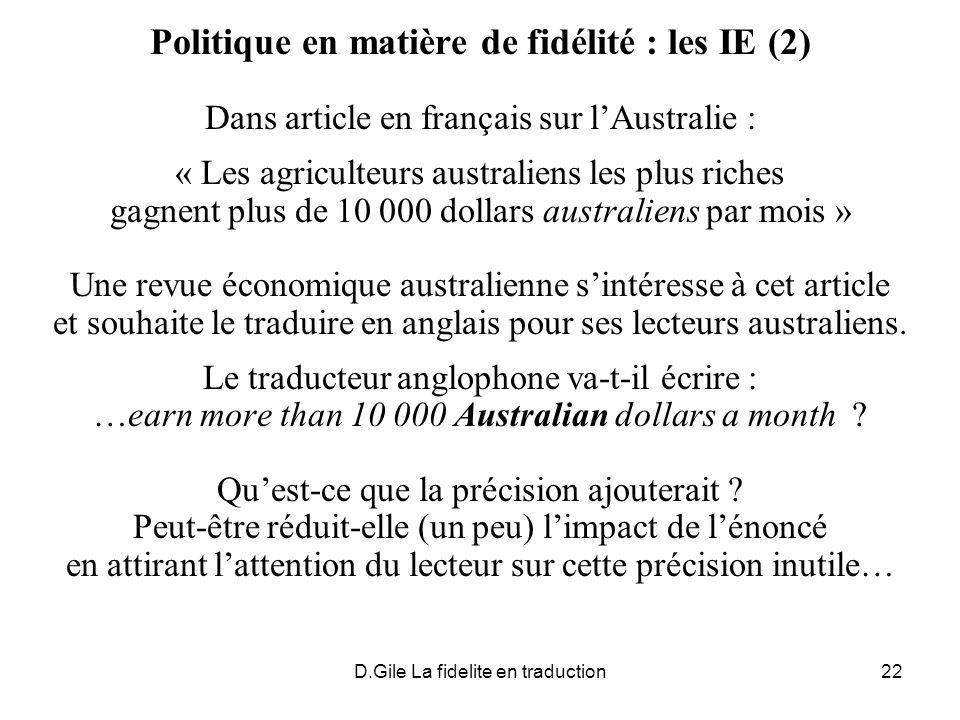 Politique en matière de fidélité : les IE (2)
