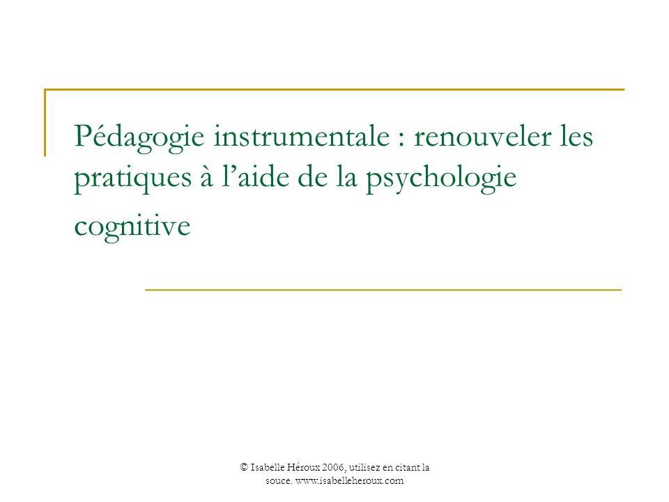Pédagogie instrumentale : renouveler les pratiques à l'aide de la psychologie cognitive