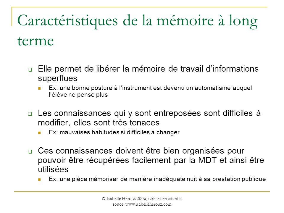 Caractéristiques de la mémoire à long terme
