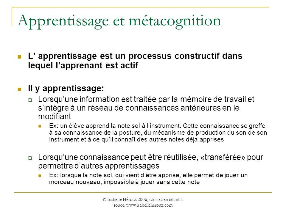 Apprentissage et métacognition