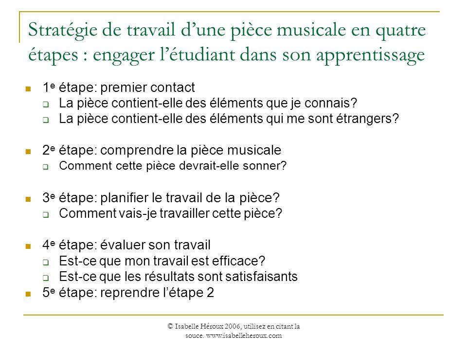Stratégie de travail d'une pièce musicale en quatre étapes : engager l'étudiant dans son apprentissage