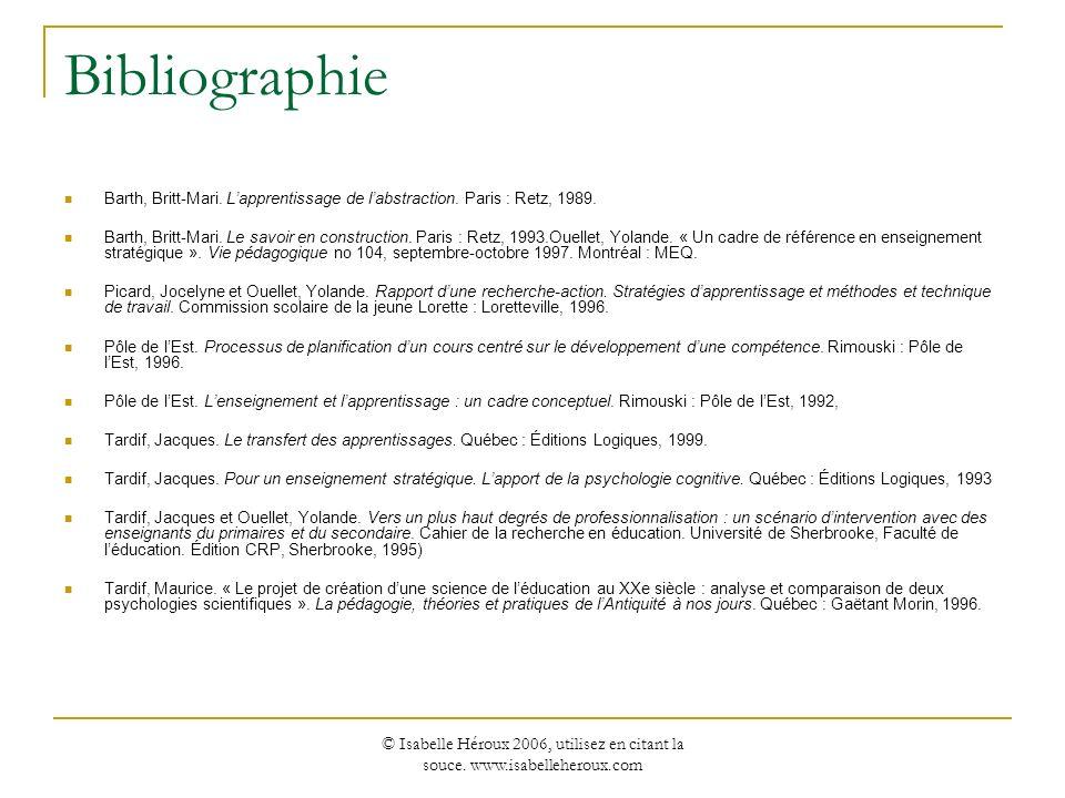 BibliographieBarth, Britt-Mari. L'apprentissage de l'abstraction. Paris : Retz, 1989.