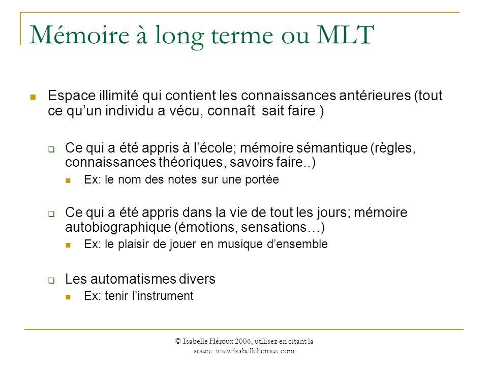 Mémoire à long terme ou MLT