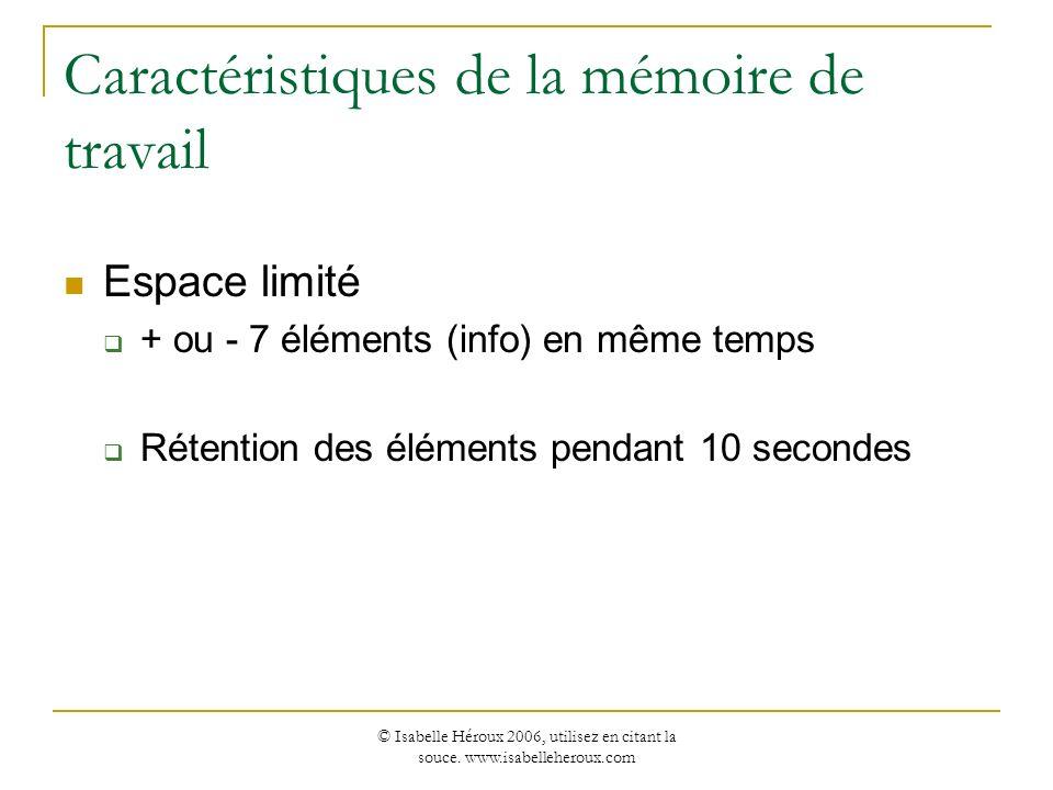 Caractéristiques de la mémoire de travail