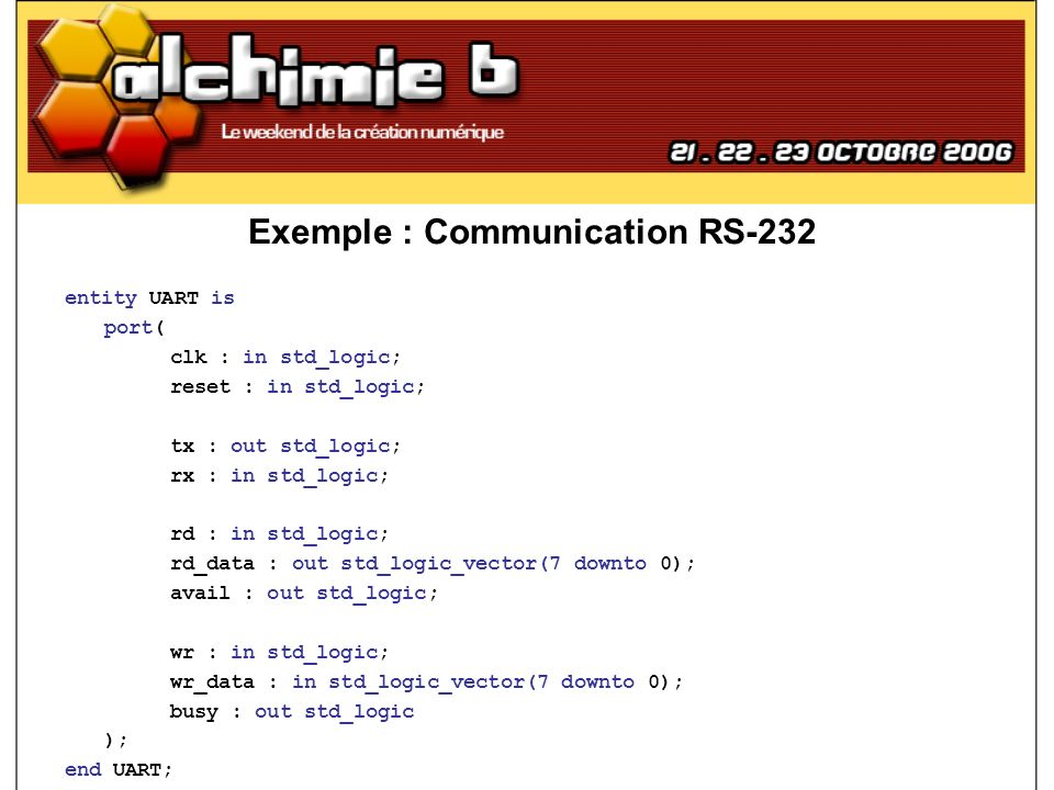Exemple : Communication RS-232