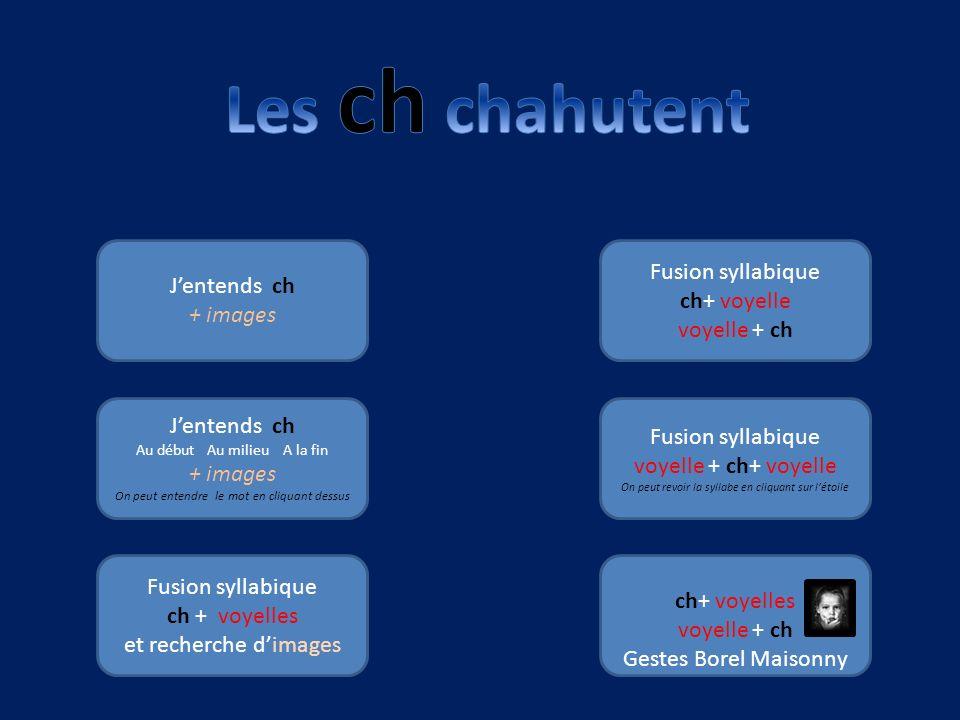 Les ch chahutent Fusion syllabique J'entends ch ch+ voyelle + images