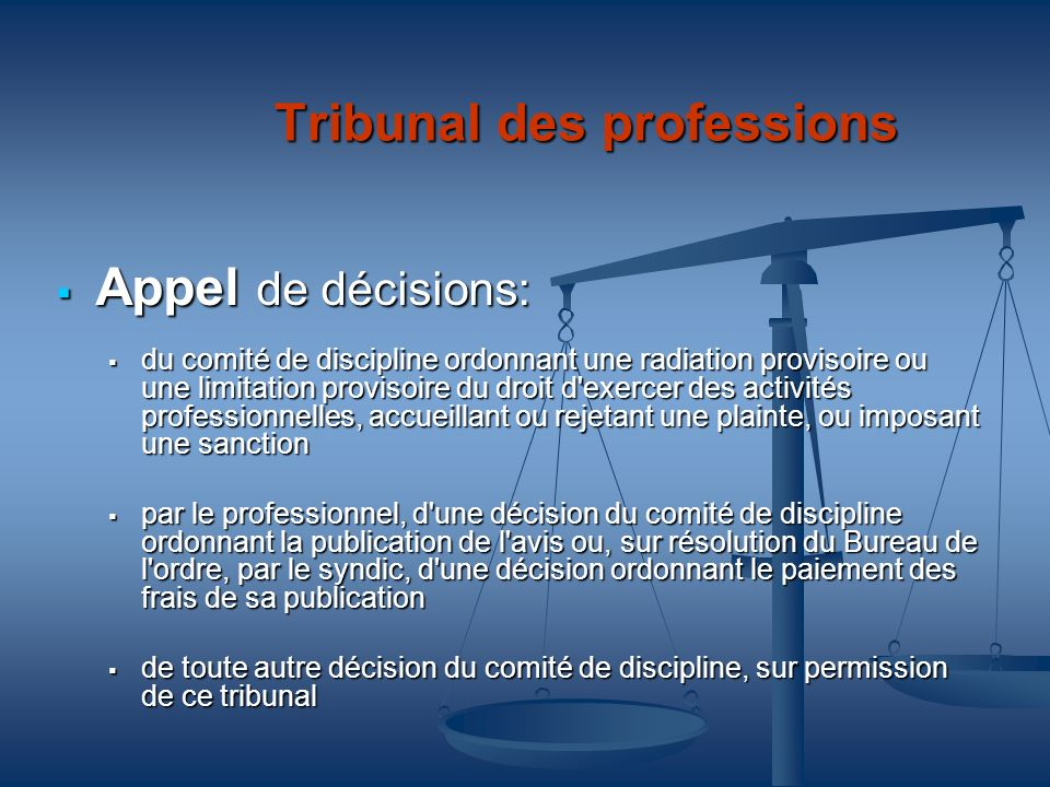Tribunal des professions
