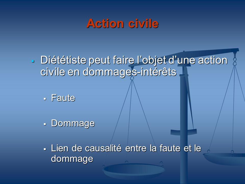 Action civile Diététiste peut faire l'objet d'une action civile en dommages-intérêts. Faute. Dommage.