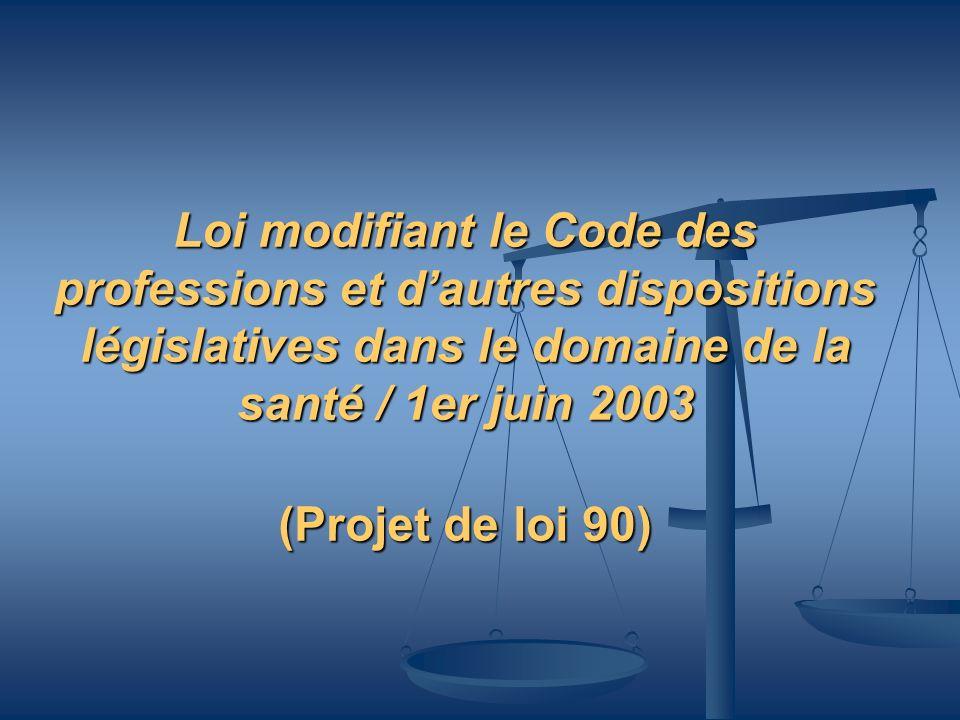 Loi modifiant le Code des professions et d'autres dispositions législatives dans le domaine de la santé / 1er juin 2003 (Projet de loi 90)