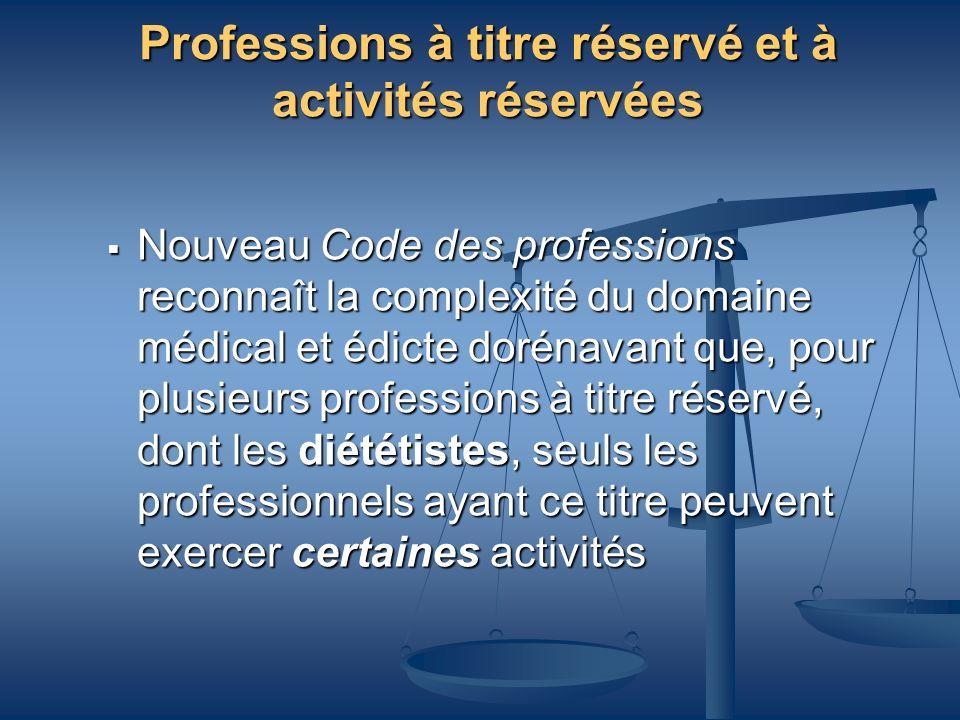 Professions à titre réservé et à activités réservées
