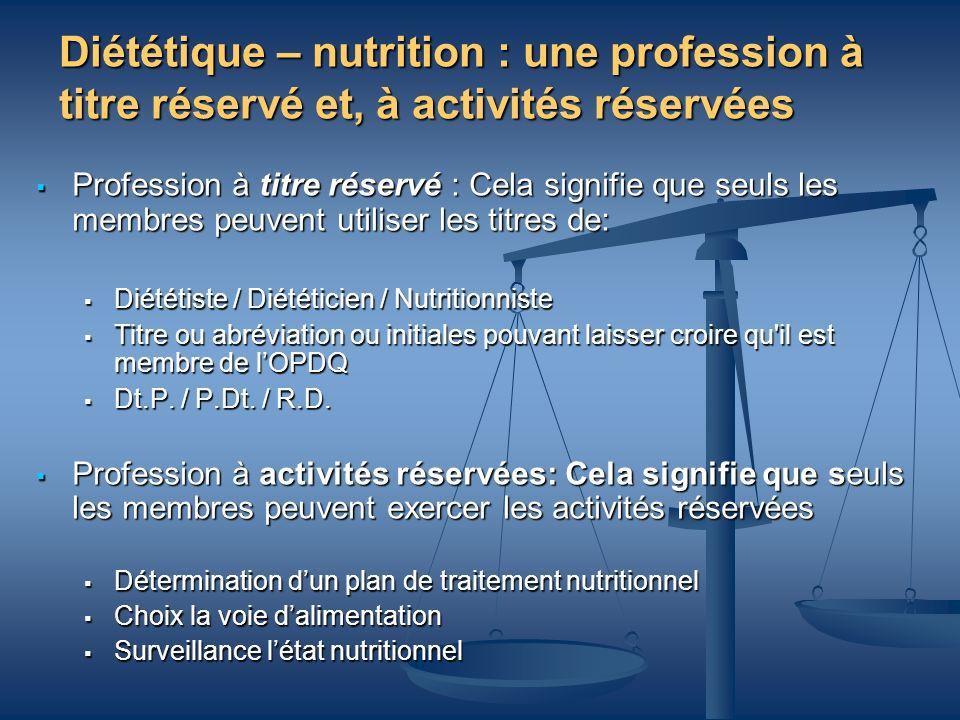 Diététique – nutrition : une profession à titre réservé et, à activités réservées