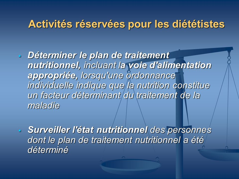 Activités réservées pour les diététistes