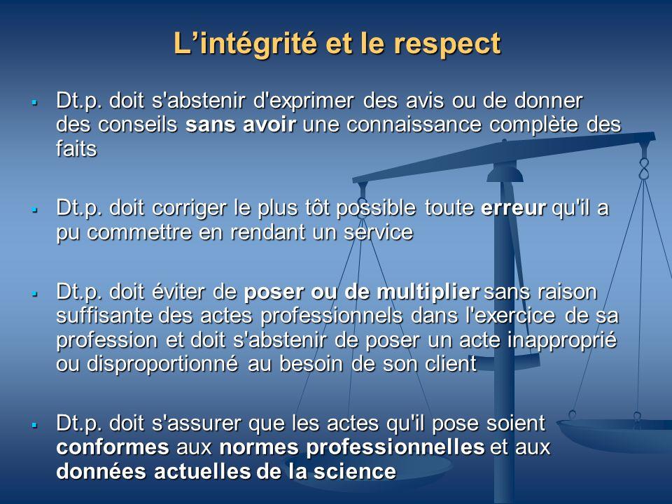 L'intégrité et le respect